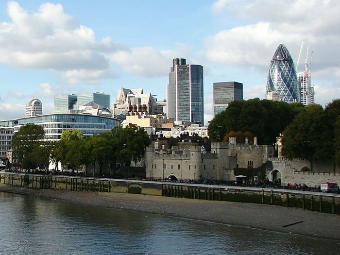 Tower Of London Bank Gherkin Tower River London Sunny Day