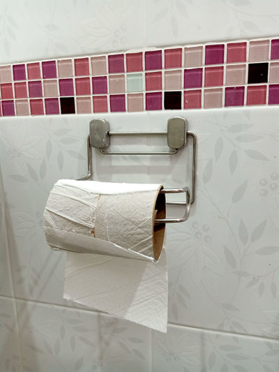 Close-up of toilet roll