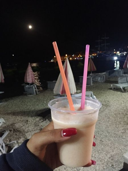 SummerNights Moon Drinking Straw Drink Human Hand Real People Food And Drink Human Body Part Refreshment One Person Night Drinking Glass Holding Cocktail Lifestyles Focus On Foreground Freshness People Disposable Cup