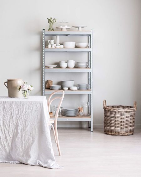 White Color Indoors  Home Interior Home Showcase Interior Shelf No People White Ceramics Nordic Architecture Nordic Interior Scandinavian Style Scandinavian Design Scandinavianliving Morning Light Light Table Basket Natural Materials White Floor Dinner Table Interior Design Interior Views Home Decor Linen Peony
