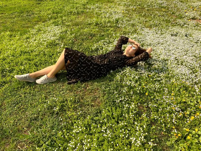 My blossoming city Plant Nature Moscow Spring Spring Flowers Springtime Blossom Lying Down Grass Relaxation Full Length Resting Field Land One Person Growth Green Color Outdoors Summertime Summer Summer Exploratorium Park Moscow Life Women Woman Beautiful Woman Enjoying The Sun Enjoying Life