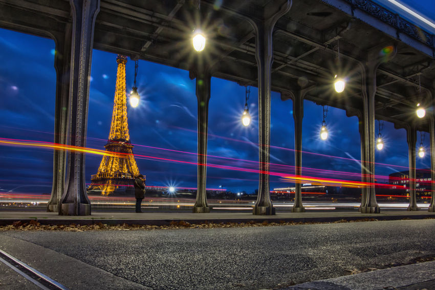 Architecture Boat Bridge Built Structure Clouds Eiffel Tower Extended Exposure Iconic Buildings International Landmark Light Streaks Night Paris Pont De Bir-hakeim River Riverside Sky Twilight Water
