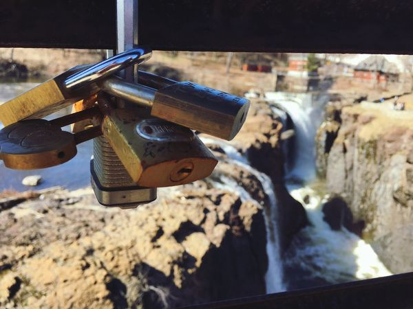 Trees Tree Rocks Rocks And Water Rocky Mountains Rock Formation Rock - Object Rock Rocks And Water Key Locks Lock Waterfalls Waterfall Waterfront Water Padlock Lock Hanging Love Lock Day No People Outdoors Close-up