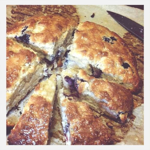 Blueberry scones with honey-butter glaze.
