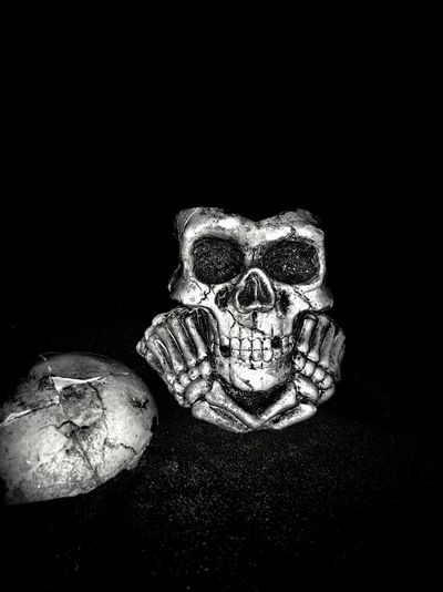 Human skull Night Halloween Skull Human Black Spooky People Black And White Day