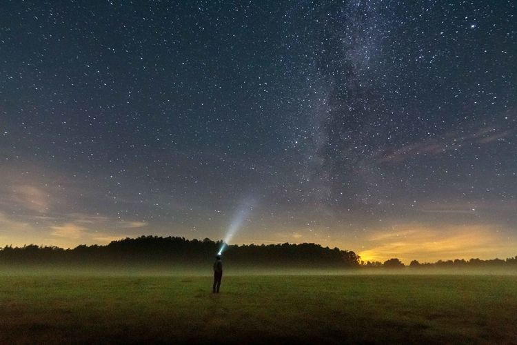 Alone Alone In The Dark Astronomy Beauty In Nature Field Fog Galaxy Grass Grassy Green Color Idyllic Landscape Loneliness Milky Way Nature Night Non-urban Scene Outdoors Sky Space Standing Alone Star - Space Star Field Tranquil Scene Tranquility