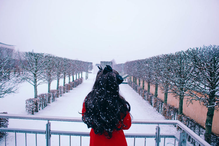 Rear view of person on snow covered landscape against sky