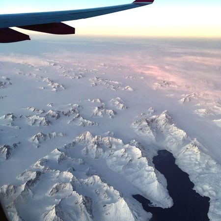 Snow field Glacier Greenland Ice Airplane Flying Beauty In Nature Aircraft Wing Travel Sky Transportation Scenics Winter Snow Aerial View Cold Temperature No People Outdoors