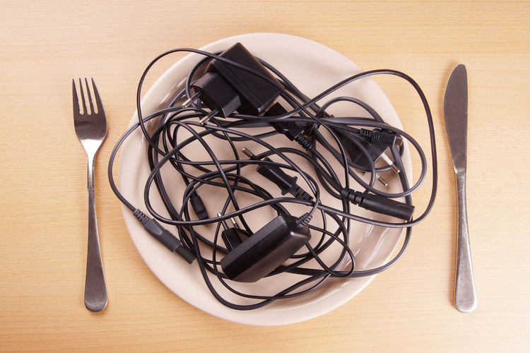 Kabelsalat Cable Heap Kabelsalat No People Plate Spaghetti Syndrome Table Tangle Tangled Technology