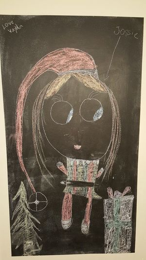 Drawing - Art Product Close-up Chalkboard Wall Child's Drawing Christmas Elf Future Artist