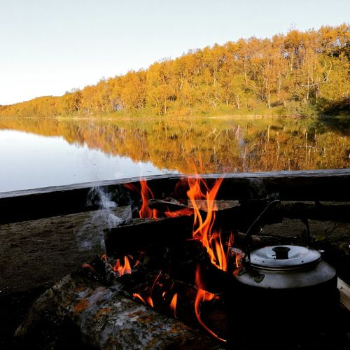 a coffee time Hiking Trail Campfire Coffee Pure Nature Lake View Autumn