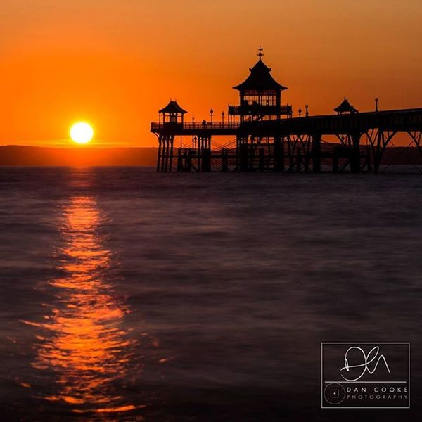 Sunset tonight over Clevedon Pier, North Somerset. Seascape Somerset Clevedon Clevedonpier Northsomerset Coast Coastal Englandsbigpicture Beach Pier Waves Sand Rocks Sunset Landscape