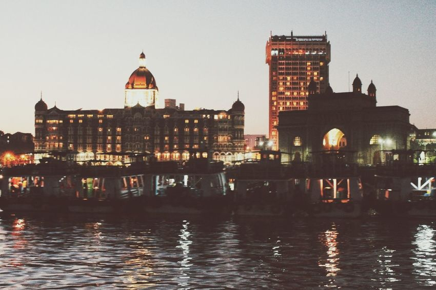 view from the barge......Reflection City Travel Destinations Architecture Water Sunset No People Cityscape Outdoors Night Cultures Sky Gatewayofindia Awesome_captures Awesome_view AWESOME!!  Backgrounds Awesome_shots Awesomeness Adapted To The City
