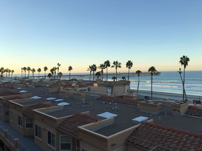 Ocean Life Southern California 760 Oceanside, Ca Sky Water Beach Clear Sky Sea Architecture Built Structure Outdoors Palm Tree