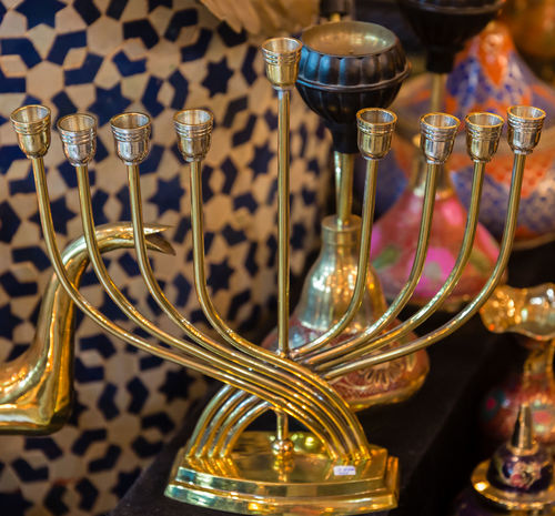 Close-up Container Focus On Foreground Food And Drink Hanukkiah Household Equipment Indoors  Luxury Metal Metallic No People Order Refreshment Still Life Table Transparent Wine Wineglass