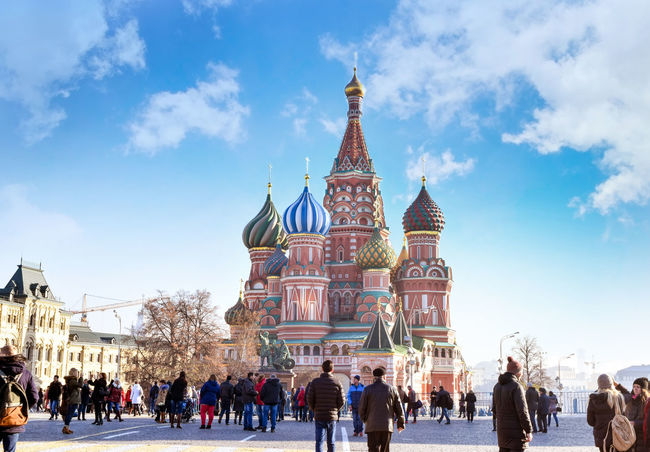 St. Basil's Cathedral in Moscow in daytime in November 2016 Moscow Russia St. Basil's Cathedral Adult Architecture Building Building Exterior Built Structure City Cloud - Sky Crowd Day Group Of People Large Group Of People Men Nature Outdoors Real People Religion Sky Tourism Travel Travel Destinations Women