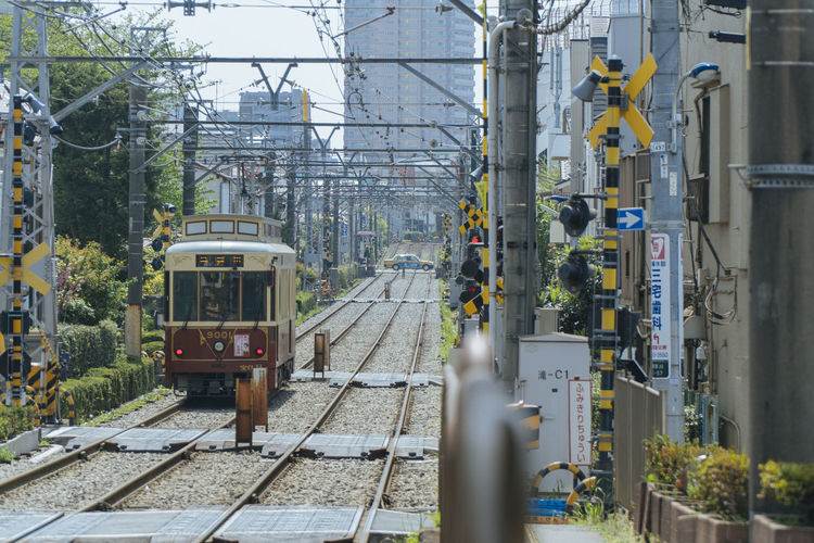 Tram in Tokyo Rail Transportation Railroad Track Track Mode Of Transportation Transportation Public Transportation Train Architecture Built Structure Building Exterior Train - Vehicle Day No People Nature Cable City Outdoors Tree Travel Signal Complexity Power Supply Station