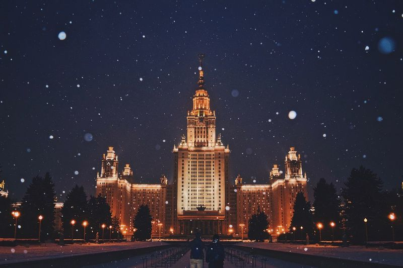 Night Illuminated Architecture Built Structure City Building Exterior Star - Space