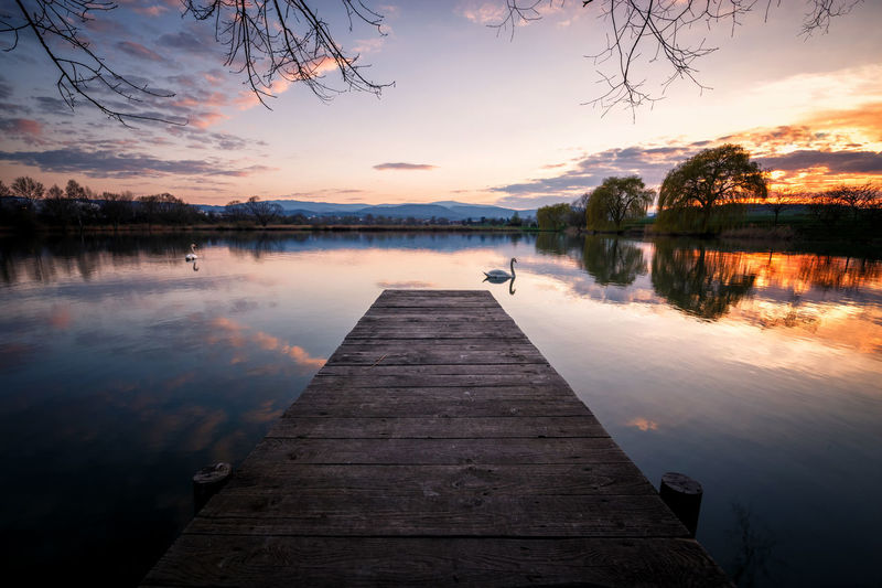 Schwansee Schwan  Wernigerode Beauty In Nature Cloud - Sky Harz Harzmountains Idyllic Jetty Lake Nature No People Non-urban Scene Orange Color Outdoors Pier Plant Reflection Scenics - Nature Sky Sunset Tranquil Scene Tranquility Tree Water Wood - Material