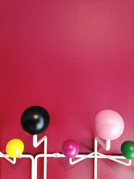 Dark Pink By Motorola Pink Wall ♡♥♡ Colorful Wooden Balls Metal Hook White Metal IPhoneography