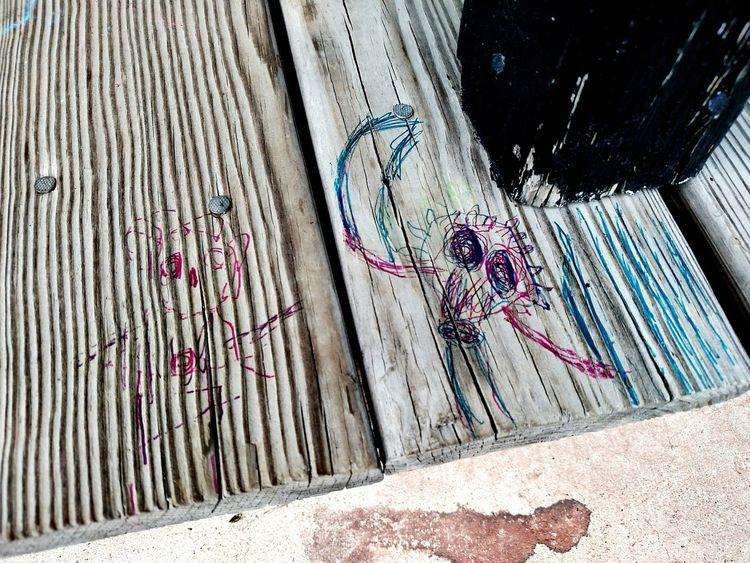 Kids Being Kids Urban Tagging KidArt'pen on wood' Can'tbemadbecauseit'sgood