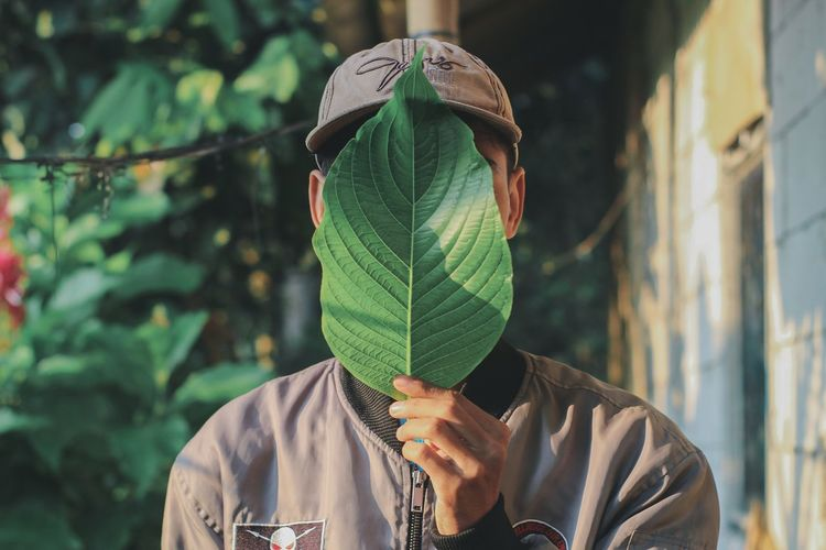 Portrait of person holding leaf outdoors