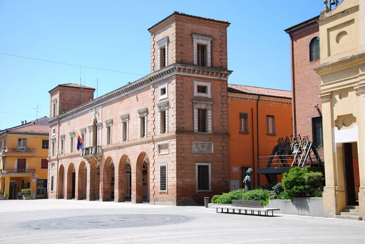 The town hall, in the main square of castel bolognese, ravenna, emilia romagna, italy.