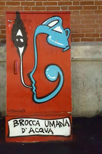 """""""Human Water Pitcher """" Streetart Street Art Graffiti Graffiti Art Brick Wall City No People Close-up Red"""
