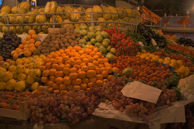 fruit market, Turkey Abundance Business Display Farmer Market Food For Sale Freshness Fruits Grape Green Healthy Eating Large Group Of Objects Lemon Market Market Stall Orange Papaya Paprica Paprika Red Pepper Selling Tomato Variation Vegetable