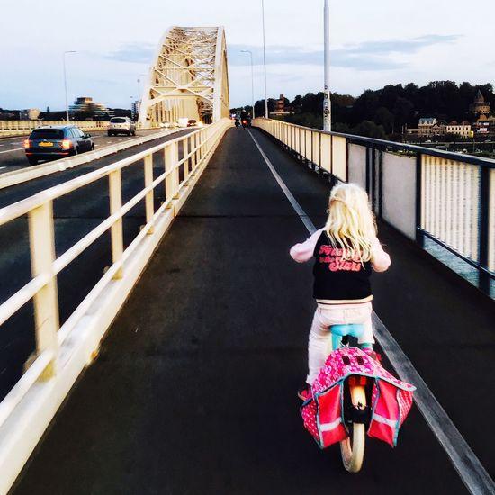 Child Pink Cycling Bike Girl Nijmegen Brug Bridge Waalbrug Nijmegen