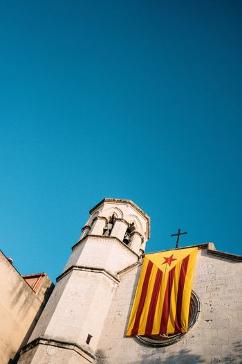 Church in Catalonia. Travel Photography Barcelona Catalonia SPAIN Blue Architecture Copy Space Built Structure Building Exterior Low Angle View Day