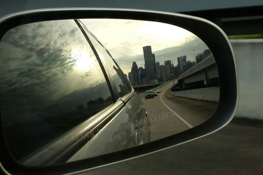Rear view shot 5 Rearviewmirror Transportation Reflection Glass - Material Window On The Move Sky Cloud - Sky City Popular Photos EyeEm Gallery Eyemphotos Photography Houston Texas Cityscapes