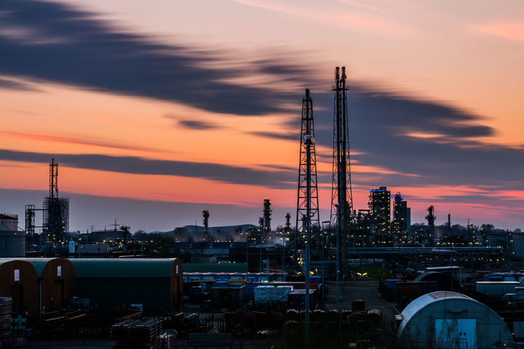 A few minutes after the sunset in Gelsenkirchen at a chemical installation... Built Structure Business Business Finance And Industry Chemical City Cityscape Deutschland Factory Gas Gelsenkirchen Germany Industrial Industry Lights Night No People Outdoors Petrochemical Plant Sky Sunset Technology Tower Urban Skyline EyeEmNewHere