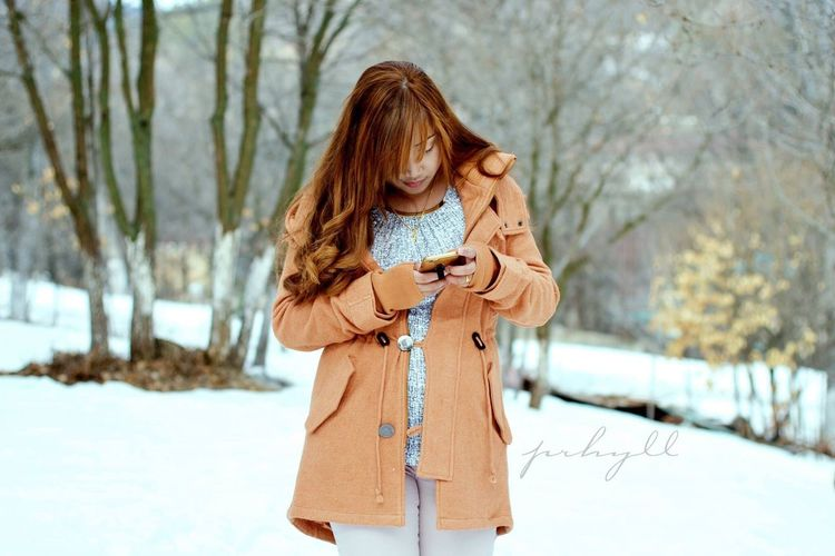 Armenia Winter Snow Cold Temperature Young Adult Long Hair Nature Fashion Women Tree One Person Adult One Woman Only Beauty Warm Clothing Adults Only Beauty In Nature People Young Women Outdoors Mobile Conversations Women Around The World Mobile Conversations