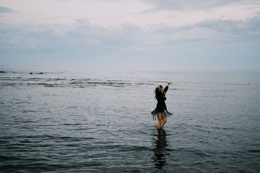 Ocean Water Sea Nature One Person Sky Beauty In Nature Standing Tranquility Horizon Over Water Outdoors Real People Women