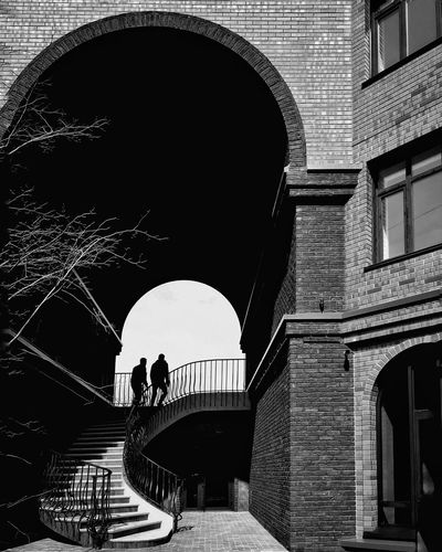 Silhouette men on staircase of building