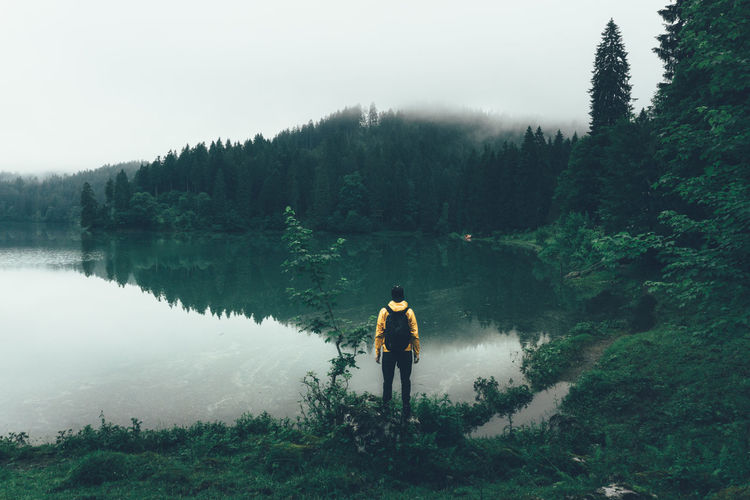 Rear view of man standing by obersee lake