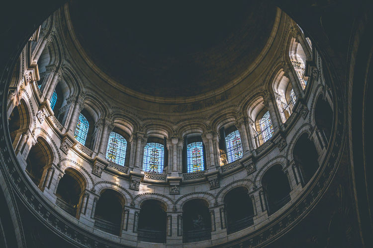 Architectures of Paris, France. Built Structure Architecture Low Angle View Religion Indoors  Spirituality History Window Place Of Worship Belief Travel Destinations The Past No People Tourism Arch Travel Building Glass Ceiling Ornate Dome Historic