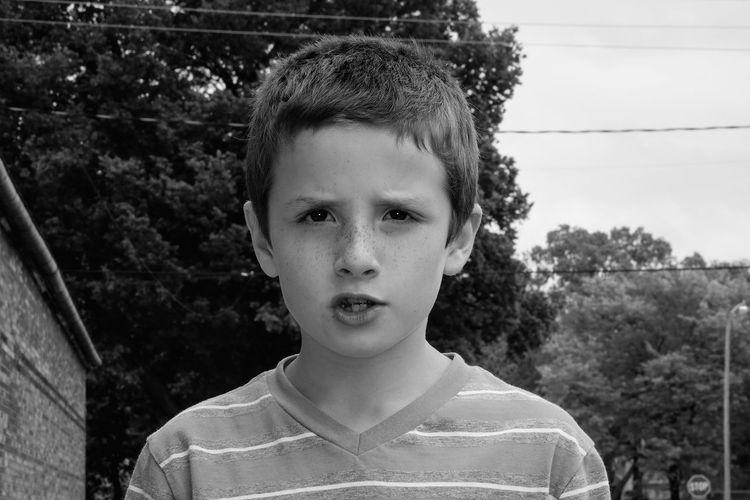 Portrait of boy against trees