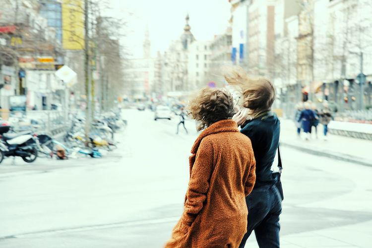 Streetwise Photography City Women Lifestyles Street Two People Antwerpen, Belgium Windy Windy Day