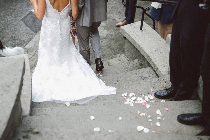 Bride And Groom Just Married Lifestyles Stairs Steps Unrecognizable Person Walking Wedding