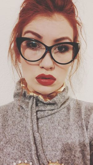 EyeEm Selects Eyeglasses  Only Women One Woman Only Adults Only Adult Young Adult Portrait One Person One Young Woman Only People Headshot Redhead Lipstick Human Body Part Looking At Camera Front View Young Women Beautiful Woman Redheadsdoitbest Human Face Women