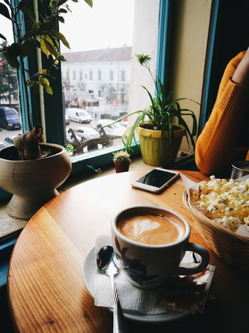 Coffee - Drink Coffee Cup Drink Food And Drink Table Indoors  Potted Plant Day Cafe Chair Freshness Cappuccino Artistic Chill Time..  Good Conversation Friends Time Off Interesting Places