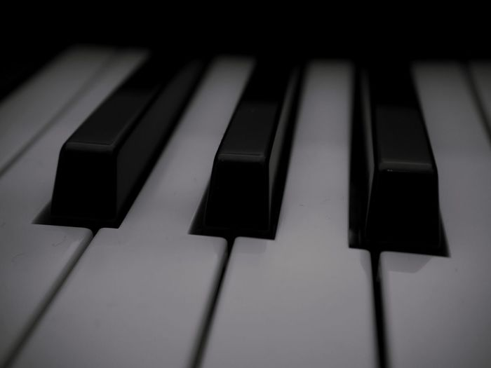 Musical Instrument Musical Equipment Piano Key Music Piano Arts Culture And Entertainment Keyboard Instrument Close-up Keyboard No People Indoors  Black Color White Color Full Frame Synthesizer In A Row Focus On Foreground Selective Focus Still Life High Angle View
