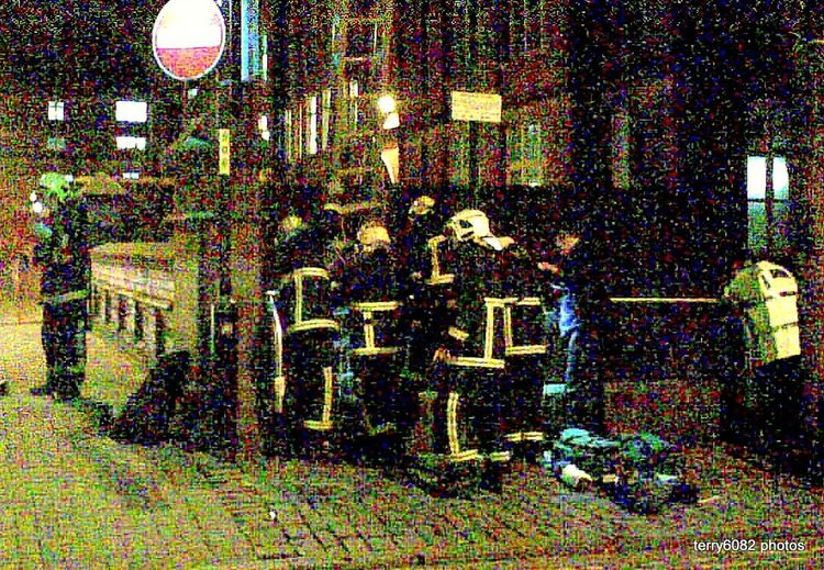 Architecture Built Structure Canal Rescue Canal Street Manchester Day Firemen At Work Illuminated Indoors  Men People Real People Rescue