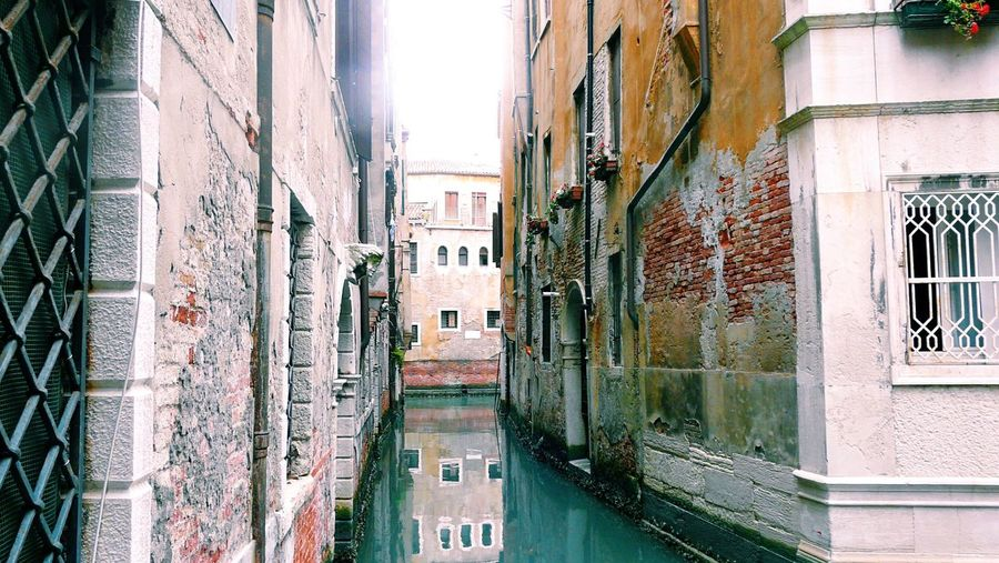 Canal Architecture Water Building Exterior Old Town Venezia Venice, Italy Italia Street Photography Old Buildings Old But Awesome Traveling Destination Travel City Life Built Structure Window Residential Structure Walkway Weathered Narrow The Way Forward Day No People Diminishing Perspective