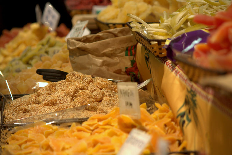 Close-up of dried fruit for sale at market