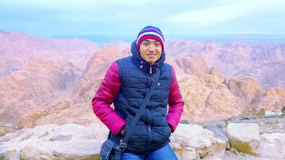 Looking At Camera Portrait One Person One Woman Only Only Women Warm Clothing People Adult Adults Only Smiling Standing Multi Colored Front View Women Outdoors Winter Cold Temperature Vacations Day Human Body Part s Saint-kathrine Mousa Mountain, Saint Catherine