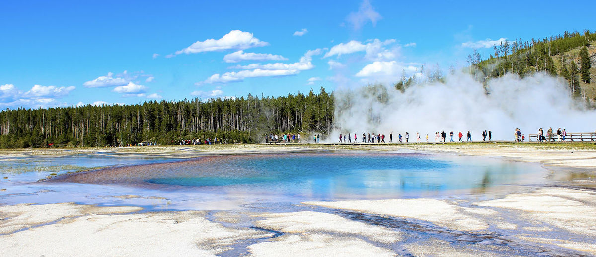 Water Geyser Sky Cloud - Sky Power In Nature Heat - Temperature Hot Spring Nature Travel Destinations Steam Tree Scenics - Nature Day Beauty In Nature Physical Geography Smoke - Physical Structure Plant Travel Geology Outdoors Turquoise Colored