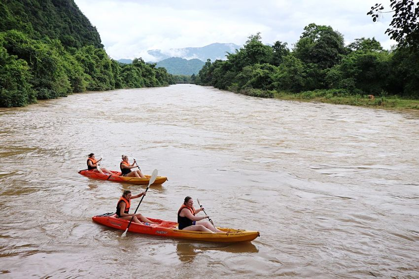 River Outdoors Adventure Cloud - Sky Mountain Travel Destinations Traveling Water Laos, Lao Trip Rainy Days Kayak#river#nature#sky Vangveing